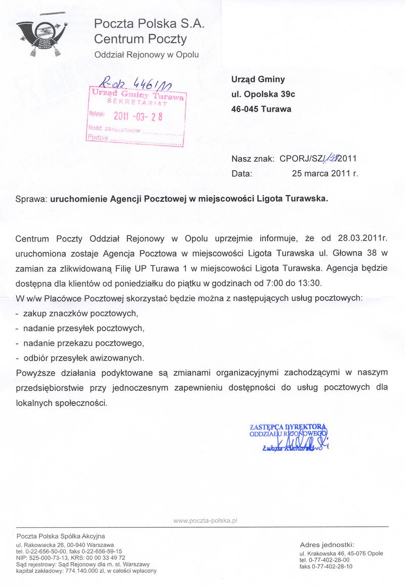 Pismo Poczty Polskiej - Oddział Rejonowy w Opolu