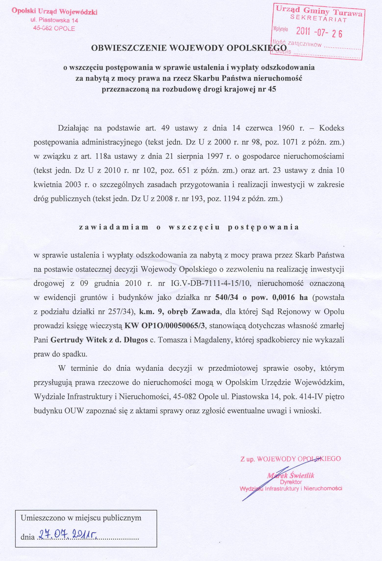 Obwieszczenie Wojewody Opolskiego