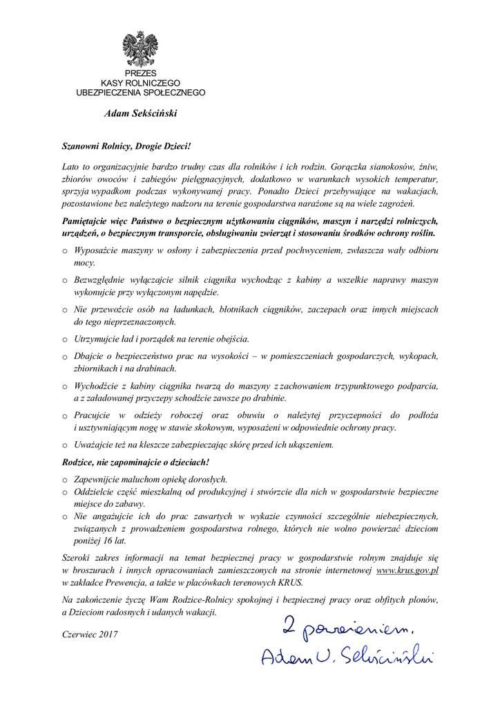 List Prezesa KRUS .jpeg