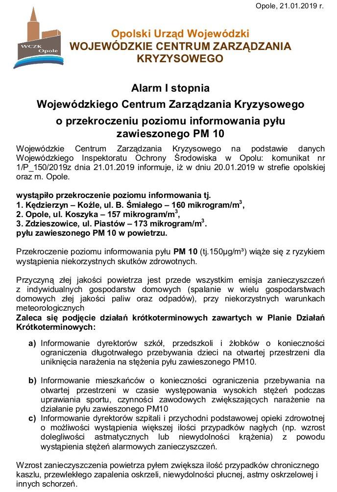 Pył zawieszony PM 10 - Alarm I stopnia 21.01.2019-str.1.jpeg