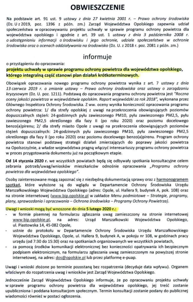 OBWIESZCZENIE dot. Programu ochrony powietrza dla woj.opolskiego.jpeg