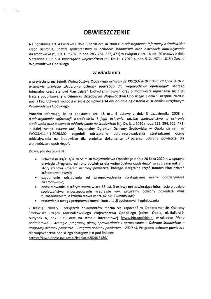 OBWIESZCZENIE dot. przyjęcia Programu ochrony powietrza dla województwa opolskiego.jpeg