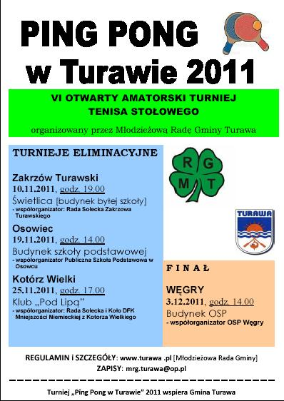 Ping Pong w Turawie 2011, plakat