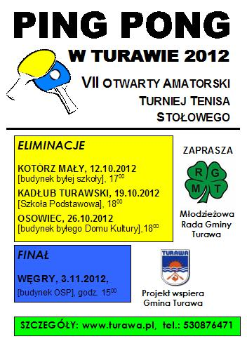 Ping Pong w Turawie 2012, plakat