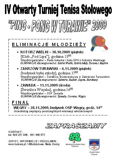 Plakat PING - PONG W TURAWIE 2009