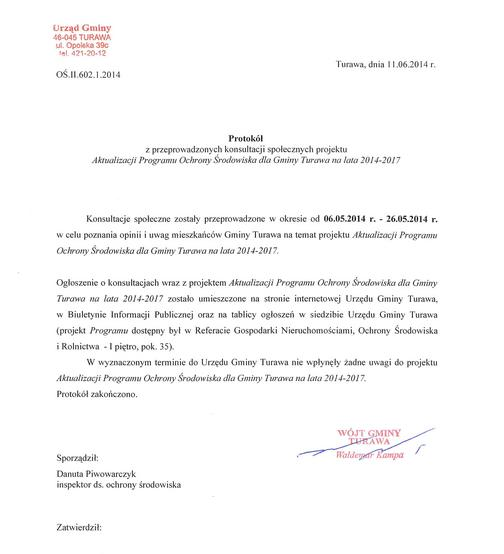 Protokół z przeprowadzonych konsultacji społecznych