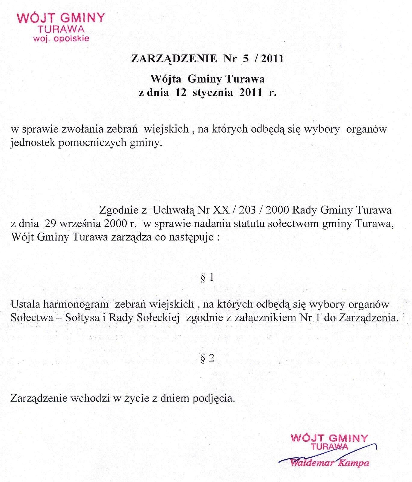 Zarządzenie Nr 5/2011