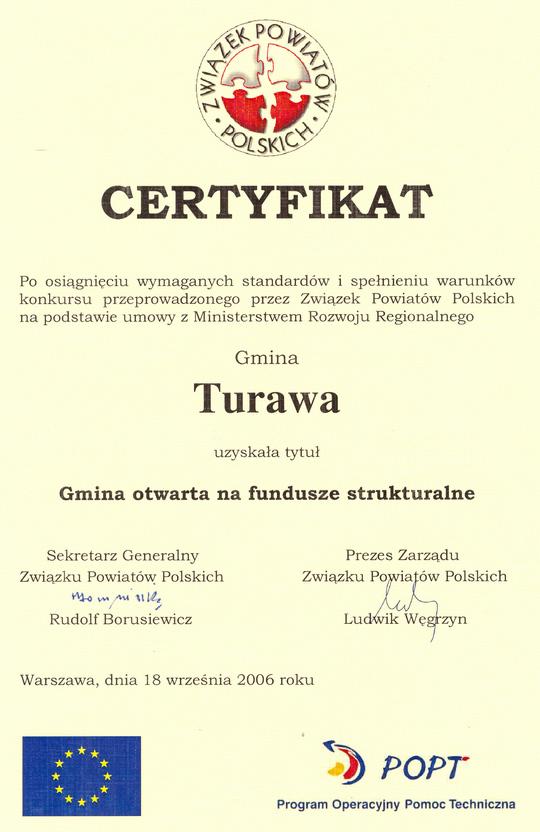 Certyfikat - Gmina Turawa otwarta 09.2006.jpeg