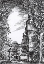 Kościół - Bierdzany, rys. Walter Świerc