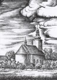 Kościół - Kotórz Wielki, rys. Walter Świerc