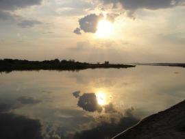 Zachód słońca nad jeziorem Turawskim